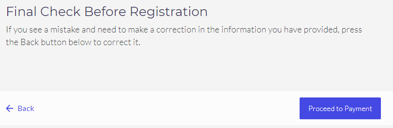 Final check before registration
