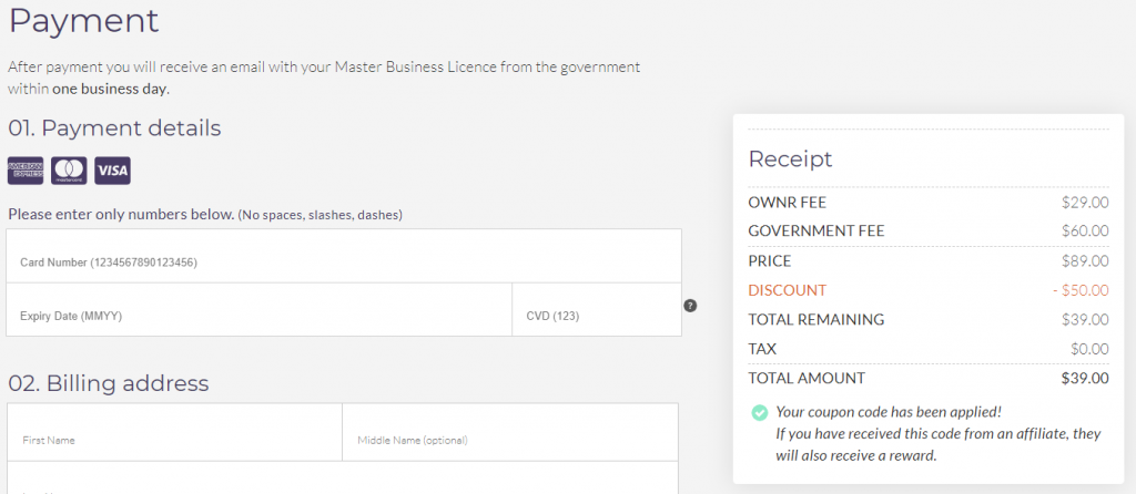 confirm payment to finish registering your business online
