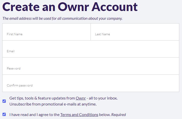 Create an Ownr Account