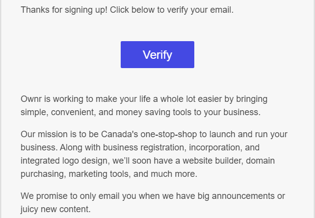 verify your new account to start the process to register your business online.