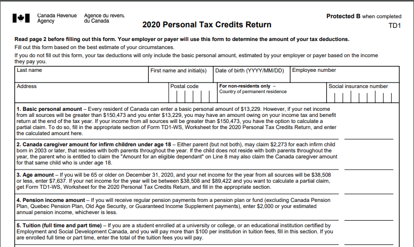Form TD1 to be filled when you start a new job