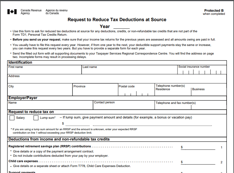 Letter of Authority to CRA to reduce tax deductions as source.