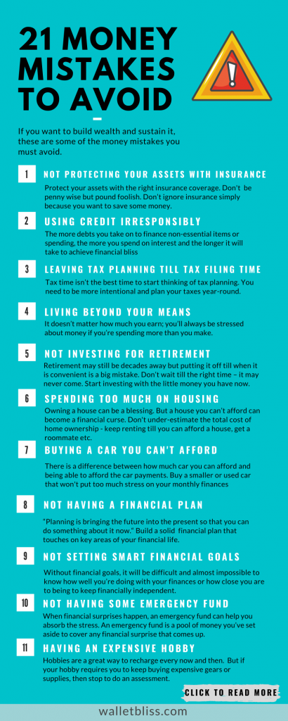 If you want to build wealth and sustain it, these are some of the money mistakes you must avoid.
