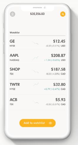 Wealthsimple Trade TFSA mobile app screen