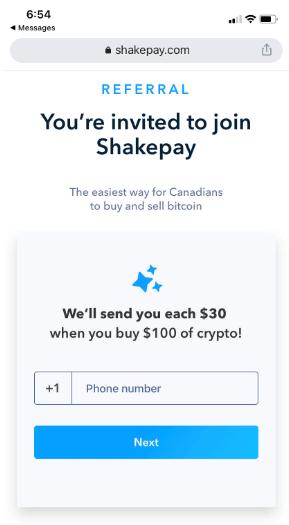 Shakepay referral bonus signup page  for $30
