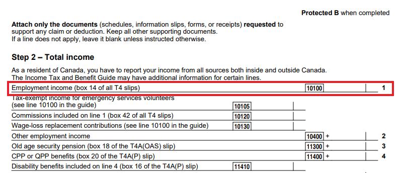 Line 10100 or Line 101 on T1 Tax Return