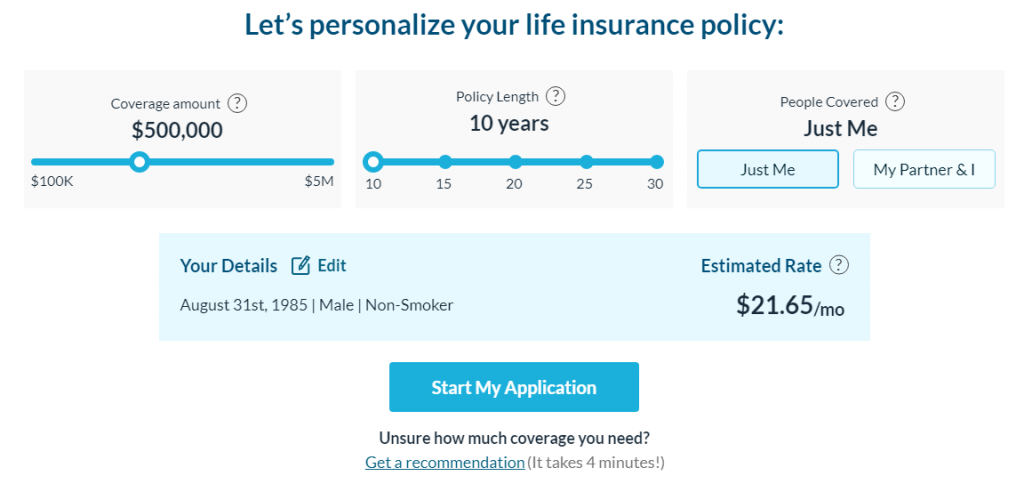 policyme life insurance quote results