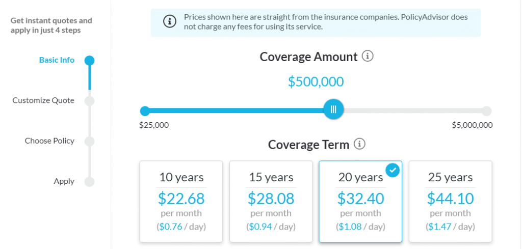 PolicyMe vs PolicyAdvisor comparison with PolicyAdvisor life insurance quotes shown